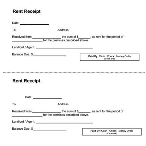 landlord rent receipt template top 5 sles of rent receipt templates word templates
