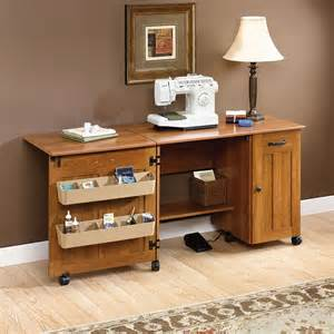 sewing and craft table sauder american cherry sewing craft table 400367