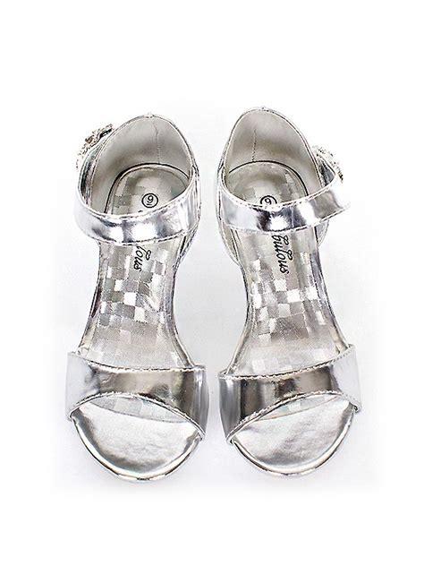 silver flower shoes silver enamel flower dress shoes size kid 9 10 11 12