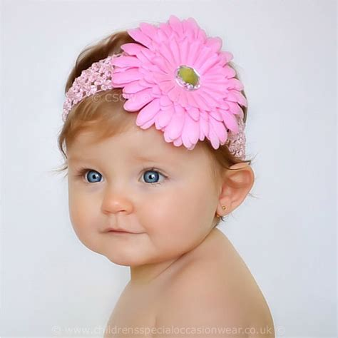 baby headbands baby headband uk baby pink gerbara flower headband christening