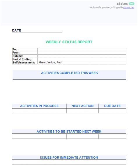 employee status report template 6 awesome weekly status report templates free