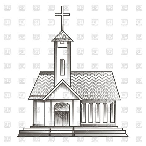 clipart chiesa catholic church in engraving style royalty free