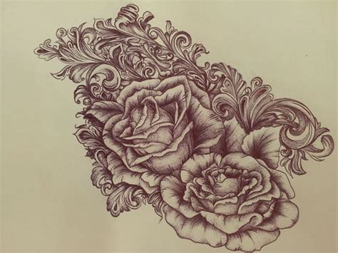 scroll and rose tattoo behance scrollwork roses by eileen