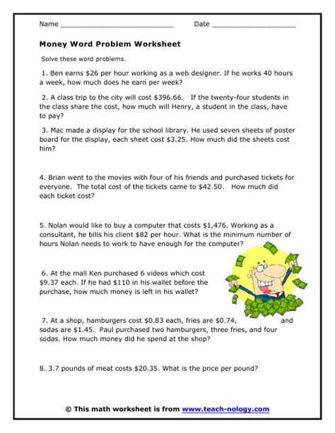 Algebra Coin Word Problems Worksheet by Money Word Problems Easy