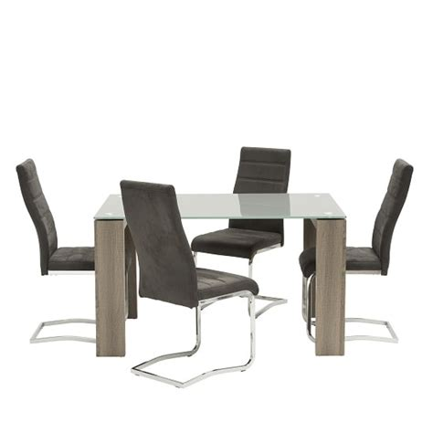 glass table with 4 grey chairs devan glass dining table small in grey with 4 black chairs