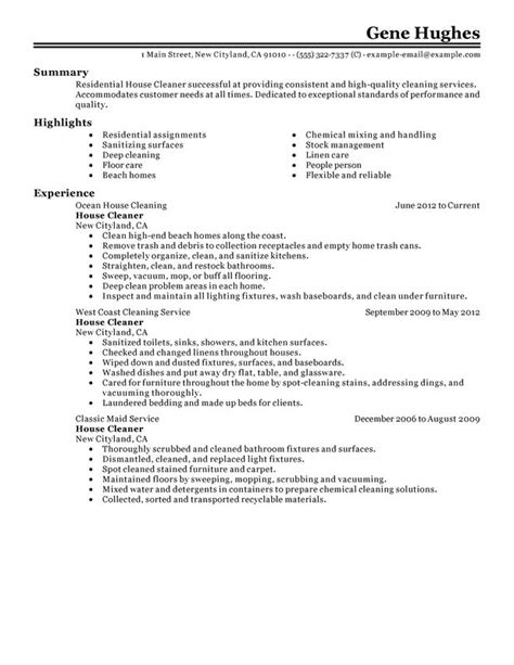 Resume Sles Cleaning Residential House Cleaner Resume Sle My Resume