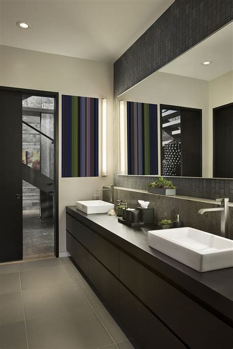 modern guest bathroom private luxury ski resort in montana by len cotsovolos