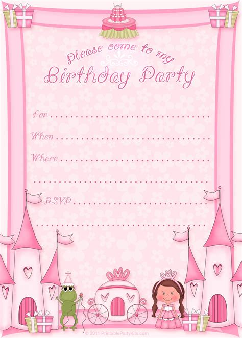 Free Princess Birthday Card Template free printable invitation pinned for kidfolio the