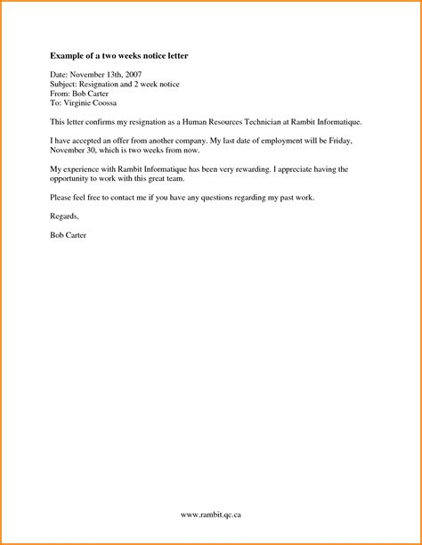 Formal Letter Of Resignation 2 Weeks Notice by 7 Formal 2 Weeks Notice Letter Financial Statement Form