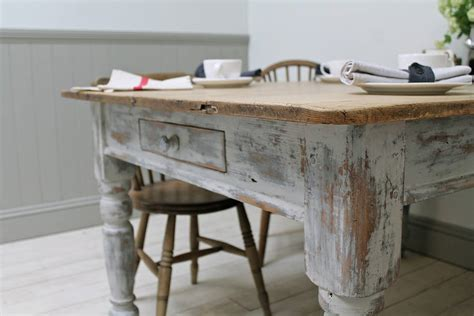 heavily distressed pine kitchen table by distressed but