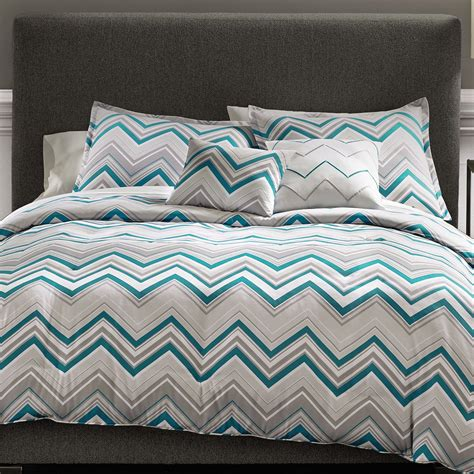 gray chevron bedding metaphor 5 piece true chevron bed set grey teal