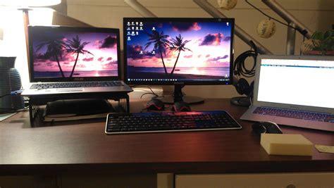 laptop   external monitor  keyboard