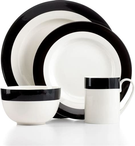 modern dinnerware sets martha stewart collection dinnerware classic band black 4