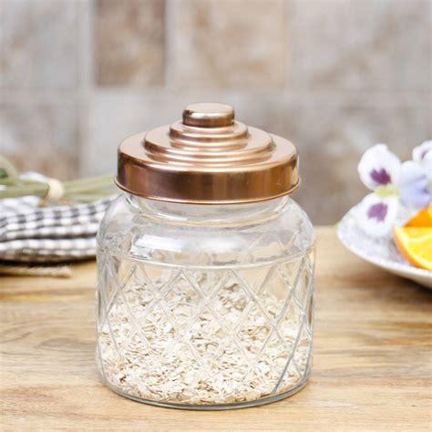 glass copper kitchen storage jar  lid  dibor