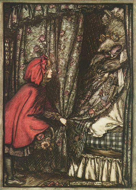 little red riding hood and wolf illustration illustration arthur rackham s grimm s fairy tales