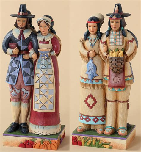 resin pilgrim and indians jim shore heartwood creek harvest thanksgiving collection