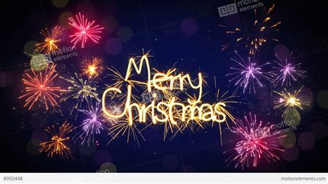 merry christmas sparkler text  firework loop   stock animation