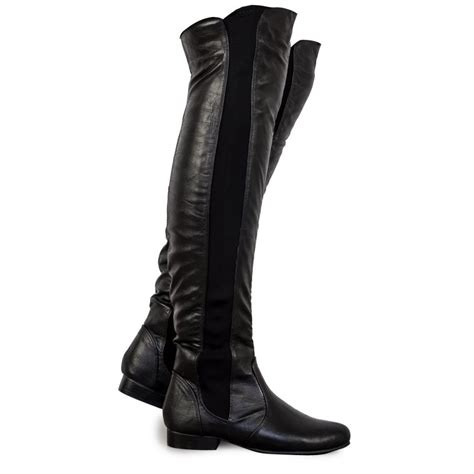 the knee leather boots black pu leather the knee boots from parisia
