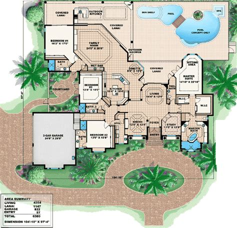 wide lot house plans wide lot with unique courtyard 66210we 1st floor