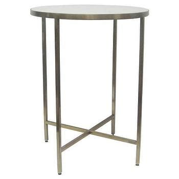 white marble and metal accent table white marble and metal accent table