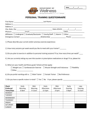 printable fitness questionnaire free personal trainer forms templates fillable
