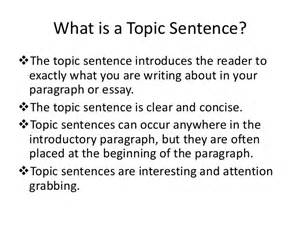 Exles Of Topic Sentences For An Essay by What Is A Topic Sentence For Emigration