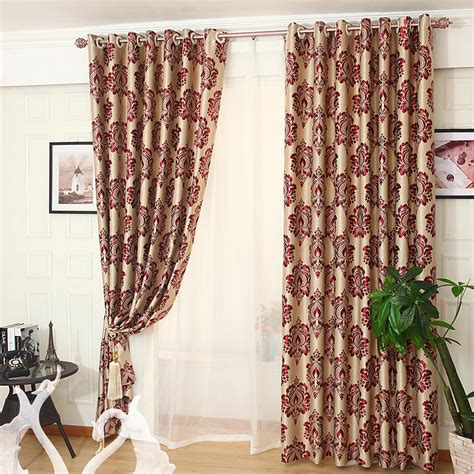 red floral jacquard polyester shabby chic curtains  bedroom