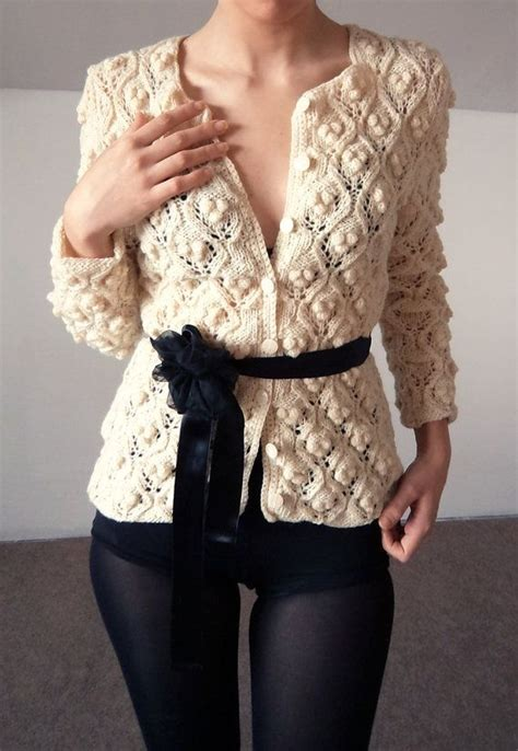 Etsy Handmade Clothing - cardigan knitted white handmade pullover wool sweater