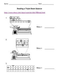 Measuring Mass Beam Balance Worksheet by Science Basics Reading A Beam Balance Worksheet