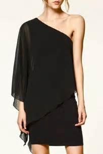 black one shoulder chiffon dress little black dresses