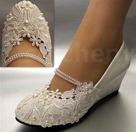 White Wedge Bridal Shoes by White Light Ivory Lace Wedding Shoes Flat Low High Heel