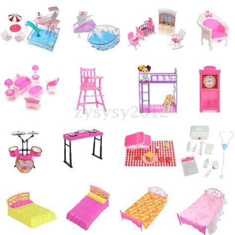 barbie house furniture bathroom bedroom garden kitchen furniture play set for barbie dolls house ebay
