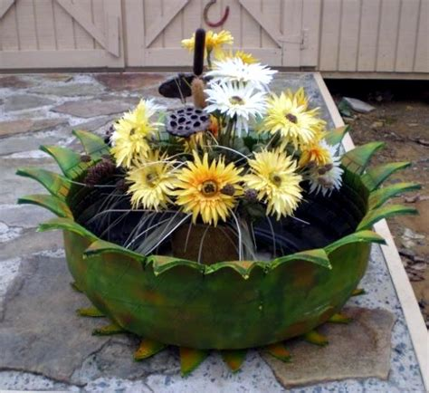 make gardening ideas with car tire flower pots and