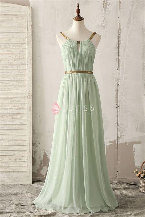 light green bridesmaid dresses unique gold strap floor length a line light green chiffon