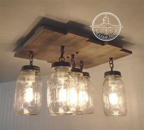 mason jar kitchen lights mason jar flush mount ceiling light with reclaimed wood