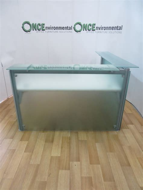 Glass Reception Desks Used Desks Frosted Glass Reception Desk 1600w X 1600d