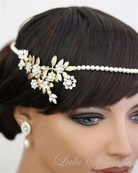 pearl headpiece deco bridal headpiece gold bridal halo leaves pearl headband forehead band