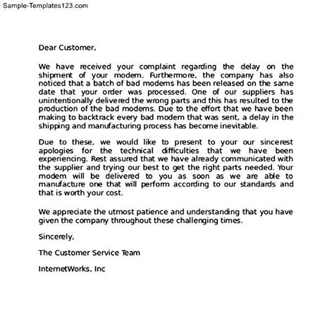 Unsatisfied Customer Letter apology letter to customer for defective product sle
