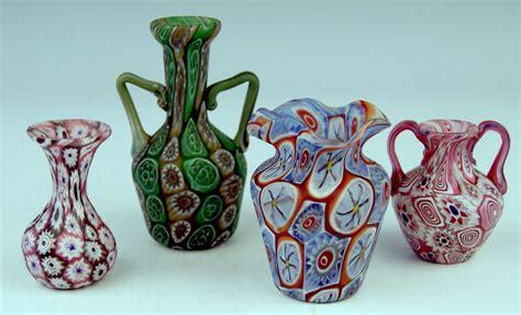 millefiori vase set of four murano vintage glass vases millefiori c