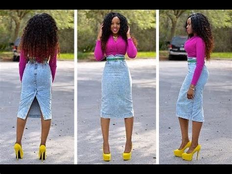 Hq 11462 Ripped Pencil Denim diy how to turn jean into a pencil skirt