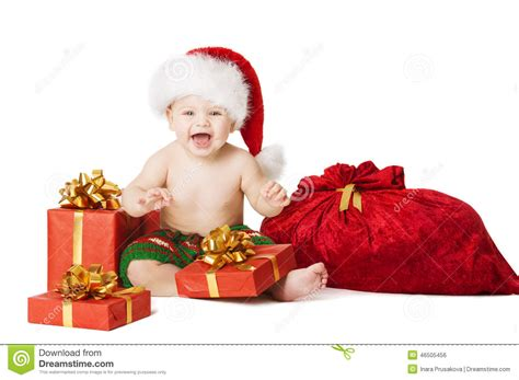 christmas baby kids child present gift box and santa bag