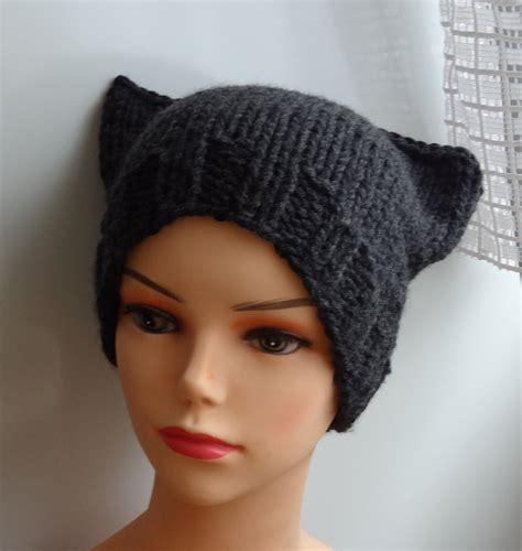 how to knit a hat with ears cat ears hat cat beanie chunky knit winter accessories by