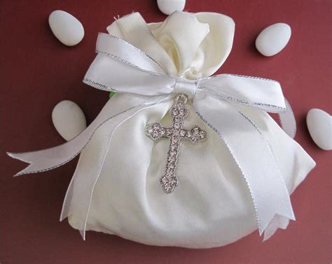 Geos My Baby Pouch Cross ivory silk pouch with rhinestone cross made in italy