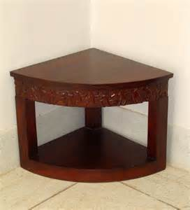 corner table furniture saffron carved corner end table with mudramark by chandra