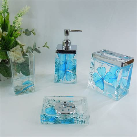 Sky blue floral acrylic bath accessory sets h4001 wholesale faucet e commerce