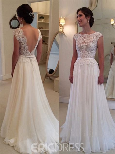 ericdress charming backless jewel lace   wedding