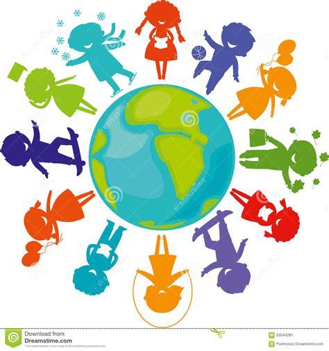 nios del mundo siluetas ni 241 os alrededor del mundo ilustraci 243 n del vector imagen 63044281