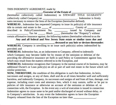 indemnity agreement template sle indemnity agreement 12 documents in word pdf