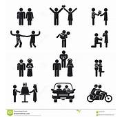 Relationship And Wedding People Icon Set Stock Vector