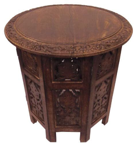 hand carved wood coffee table antique accent furniture end cotton craft jaipur solid wood hand carved folding accent